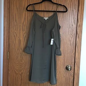 Off the shoulder Olive Dress- NEVER WORN